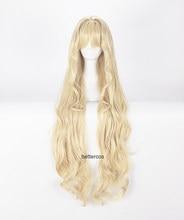 Volcaloid3 seeu cosplay perucas 100cm luz longa loira encaracolado ondulado resistente ao calor peruca de cabelo sintético + peruca boné
