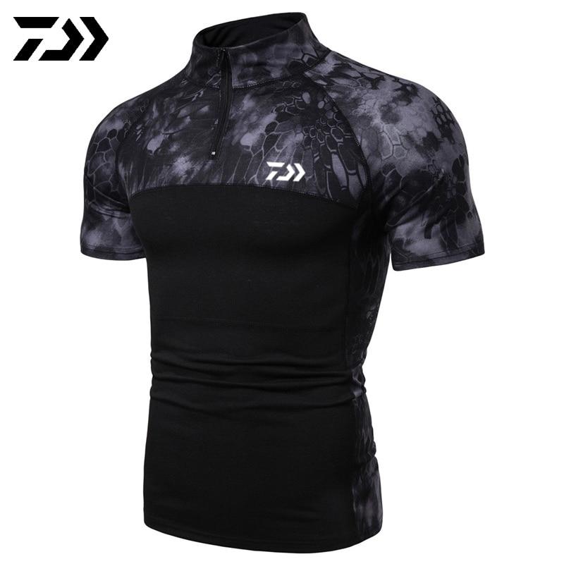 Daiwa, камуфляжная рубашка для рыбалки, футболка с коротким рукавом, мужские топы на молнии, Мужская Уличная одежда, футболка для рыбалки, Спортивная, тактическая, летняя - Цвет: Черный