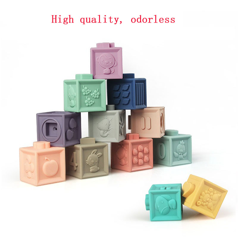 12PCS/lot Baby Grasp Toy DIY Soft Rubber Embossed Building Blocks 3D Touch Hand Soft Balls Baby Toys
