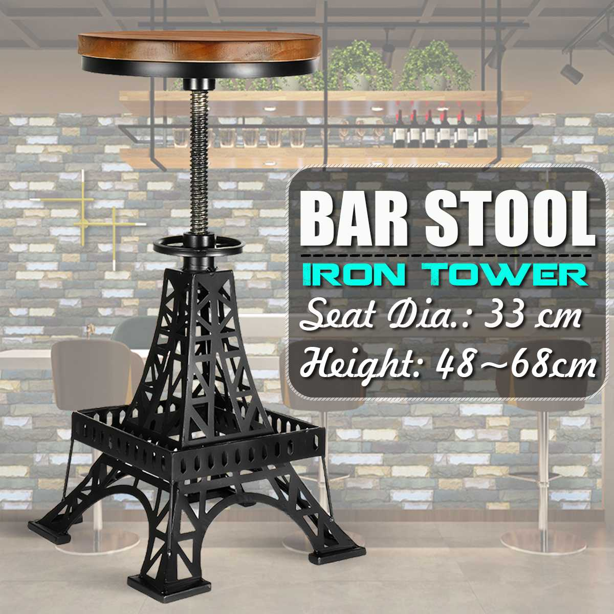 Vintage Iron Tower Metal Industrial Bar Chairs Height Adjustable Swivel Pinewood Top Kitchen Dining Chair Barstool Bar Chairs