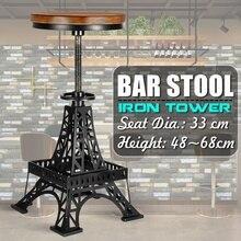 Vintage hierro Torre Metal Industrial Bar sillas altura ajustable giratorio Pinewood superior cocina Silla de comedor Bar sillas