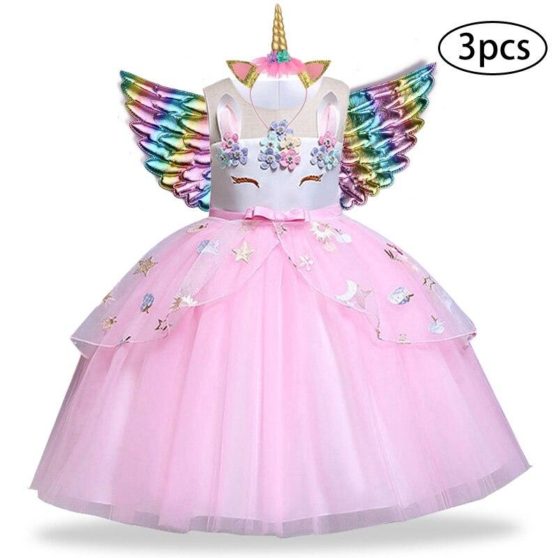 Купить со скидкой Children Elsa Princess Dress 3Pcs Kids Dresses For Girls Unicorn Dress Easter Carnival Costume Toddl