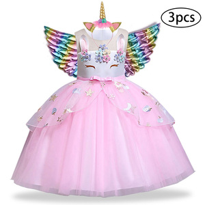 Unicorn Dresses For Girls Easter Elsa Costume Princess Dress 3Pcs Kids Baby Girls Birthday Party Vestidos Clothing 2 5 8 10 Year(China)