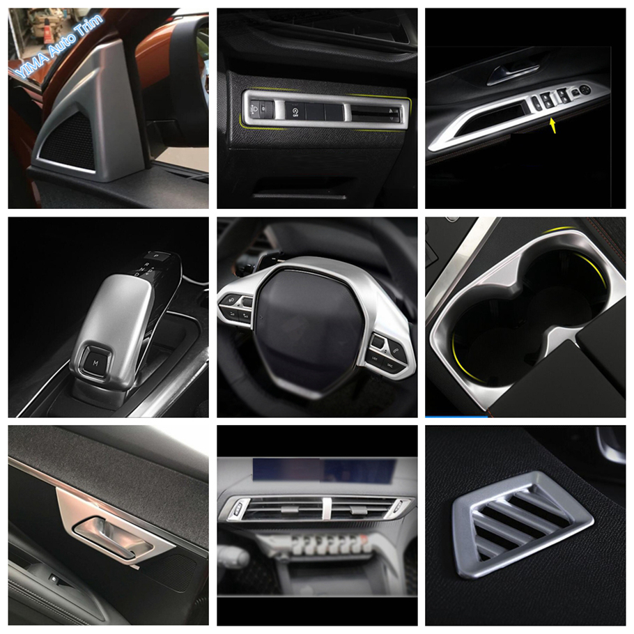 Lapetus Matte Interior Refit Kit Fit For <font><b>Peugeot</b></font> 3008 <font><b>5008</b></font> <font><b>GT</b></font> 2017 - 2020 Water Cup Holder / Head Lamps Switch Button Cover Trim image