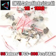 280 adet 3W 5% 56 değerleri * 5 adet karbon filmrezistans s 1 Ohm ~ 1M ohm 5% metal oksit Film direnci filmrezistans kiti