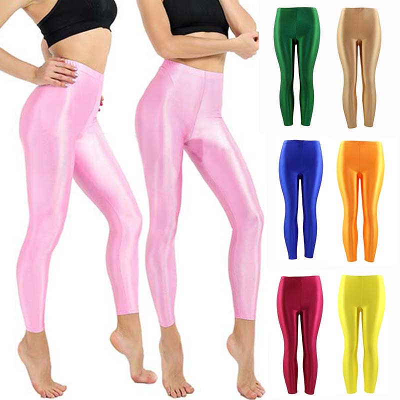 New Women Solid Fluorescent Shiny Leggings Large Size Spandex Shinny Elasticity Casual Trousers Sport Leggings For Girl