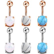 1pc Rose Gold Opal Gem Navel Belly Button Rings Piercing Bar Charming Body Jewelry(China)