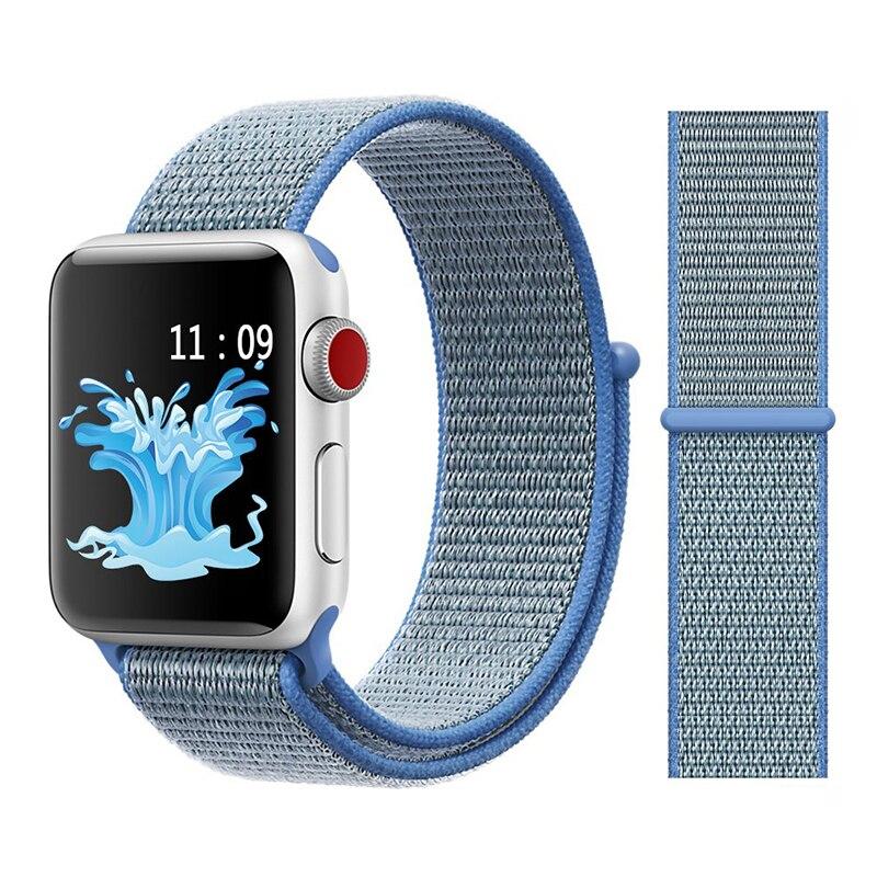 Для наручных часов Apple Watch, версии 3/2/1 38 мм 42 мм нейлон мягкий дышащий нейлон для наручных часов iWatch, сменный ремешок спортивный бесшовный series4/5 40 мм 44 мм - Цвет ремешка: Color15 tahoe blue