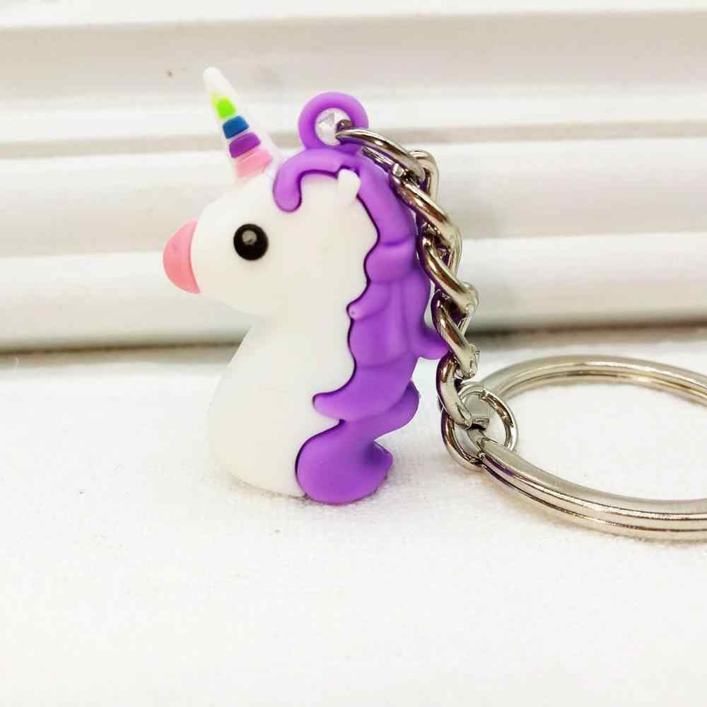 LLavero de PVC suave de dibujos animados unicornio de goma 3D Anime lindo Animal caballo llavero niños juguete colgante llavero anillo regalo