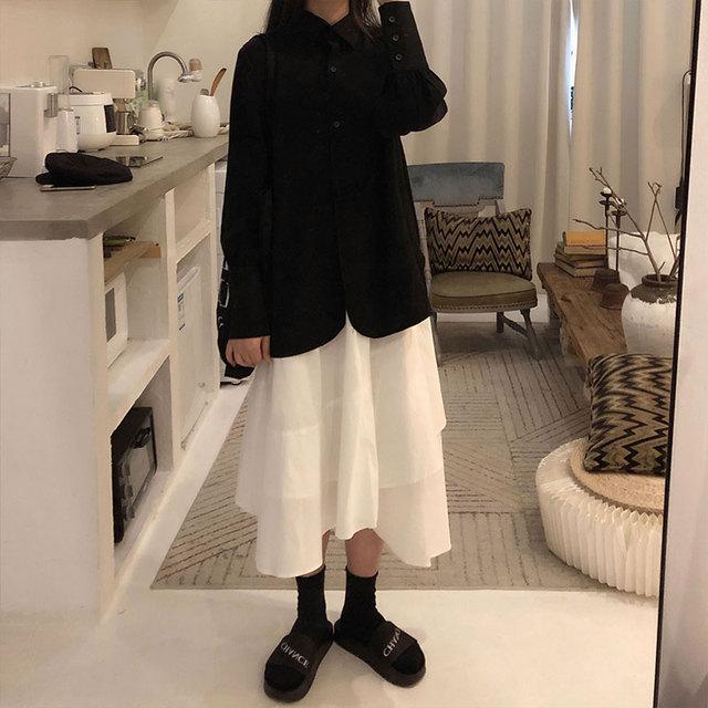 REALEFT 2020 Spring Women's Blouses Shirts Long Sleeve Turn-down Collar Korean OL Style Vintage Office Lady Black Ladies Tops 2