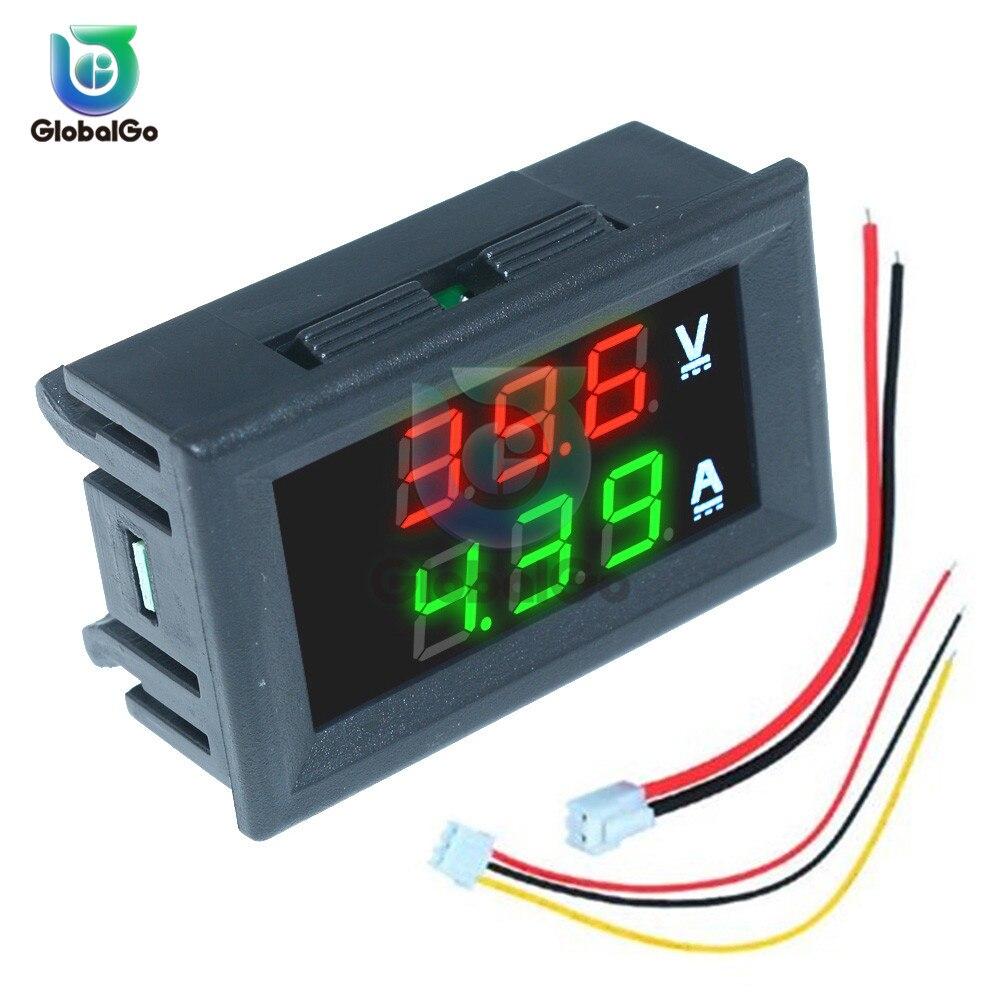 Mini voltmètre numérique ampèremètre DC100V 10A panneau Amp volts tension compteur de courant testeur bleu rouge double affichage LED voltmètre outil