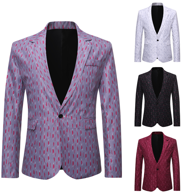 2020 Spring Plus Size Suits Jacket Men's Fashion Casual Striped  Blazer Men Casual  Flower Blazer  Full  Single Breasted  Cotton