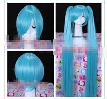 Hot hittebestendige Party haar>>> VOCALOID2 Hatsune Miku Lange Blauwe Cosplay Party Pruik Haar 2 Clip Paardenstaart(China)