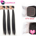 Silkswan Human Hair Middle Ratio Straight 3Bundles With 6x6 Lace Closure Brazilian Remy Hair 10-40 Inch Hair Extension For Women