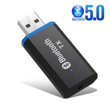 Bluetooth 5.0 + edr transmissor de áudio para tv pc driver-livre usb áudio dongle transmissor 3.5mm jack aux adaptador sem fio estéreo