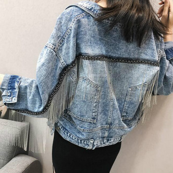 Women bat sleeve tassel short loose burr denim jacket Female Fashion new boyfrieds outwear 2020 Spring Streetwear jean coat