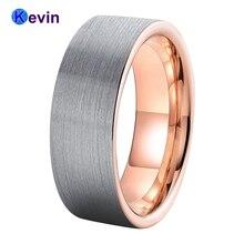 Masculino feminino casamento banda rosa ouro tungstênio jóias anel banda plana acabamento escovado 6mm 8mm conforto caber