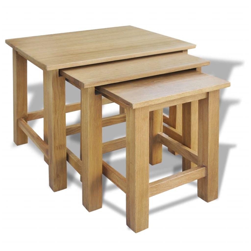 VidaXL Nesting Tables 3 Pcs Solid Oak Wood