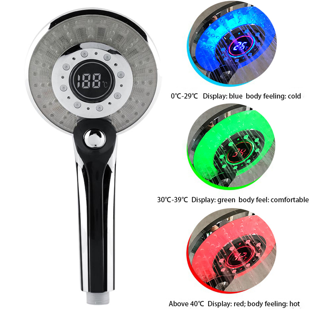Led Shower Head Temperature Controlled And Negative Ion Filter For Water Bath Rain Shower 3Mode Showerhead &Adjustable Top Spray