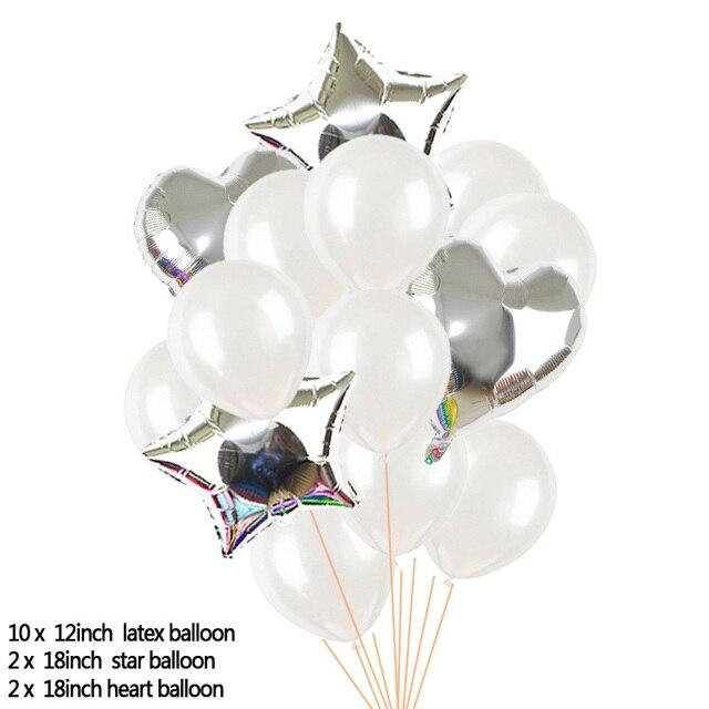 Ensemble de ballons en Latex avec confettis transparents, en forme détoile et de cœur, décoration de fête danniversaire, fournitures de réception-cadeau pour bébé, 14 pièces/ensemble
