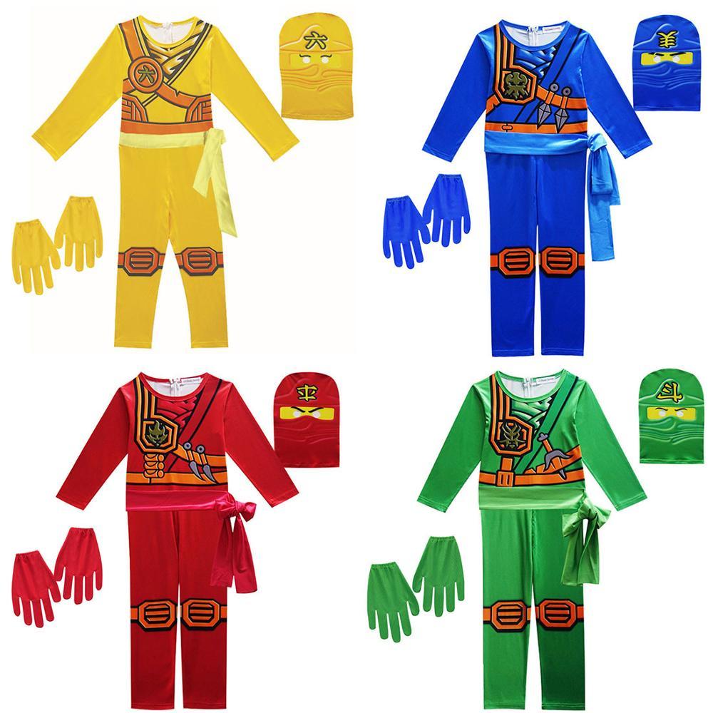 LEGOO NINJAGO Role Costume Boys Girls Ninja Superhero Christmas Party Carnival Purim Cosplay Jumpsuit+Mask+Gloves Clothes Sets