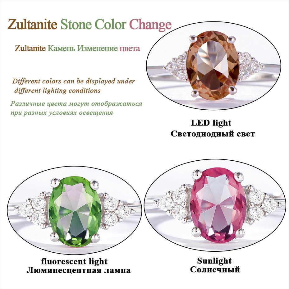 Kuololit Diaspore Zultanite แหวนพลอยสำหรับสตรี 925 เงินสเตอร์ลิงสีเปลี่ยนแหวนสำหรับเครื่องประดับหมั้น