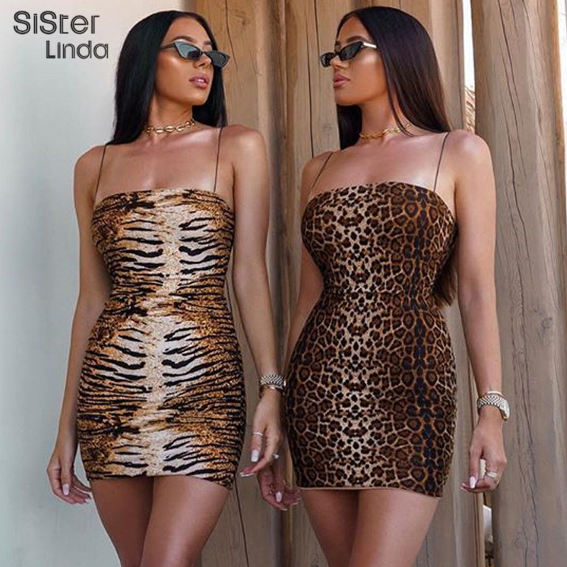 Sisterlinda Print Spaghetti Strap Elegant Sexy Dress Women Sleeveless Strapless Bodycon Mini Dress Mujer Casual Vestidos Autumn