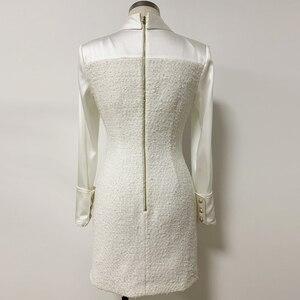Image 3 - High street 2020 nova moda designer vestido de manga longa das mulheres cetim tweed retalhos leão botões vestido