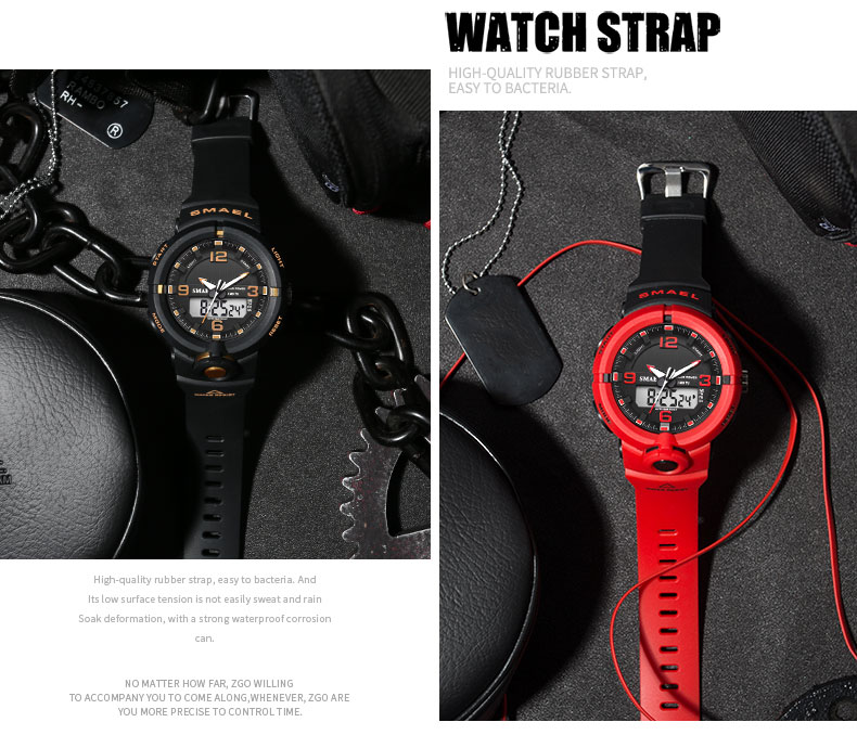 multifuncional esportes duplo tempo quartzo relógios de
