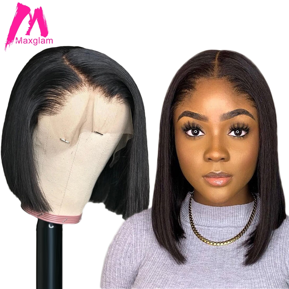 Lace Front Human Hair Bob Wigs Brazilian Straight Short Wig Natural Color Long Pre Plucked Glueless Remy Hair For Black Women