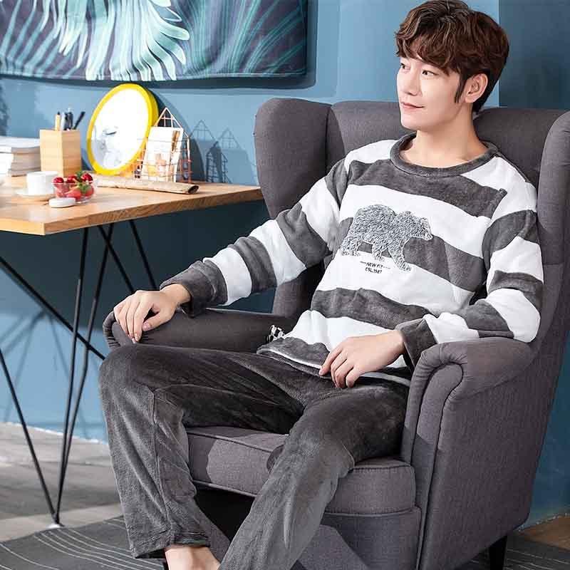 Men Pajamas Autumn & Winter Coral Velvet Large Size Cartoon Plaid Teenager Flannel Tracksuit Winter Style Set