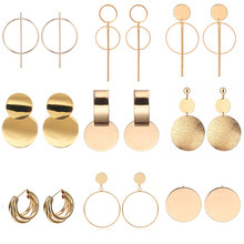 2020 moda indie biżuteria Vintage Drop kolczyki dla kobiet złoty/srebrny kolor duże geometryczne okrągłe oświadczenie kolczyk