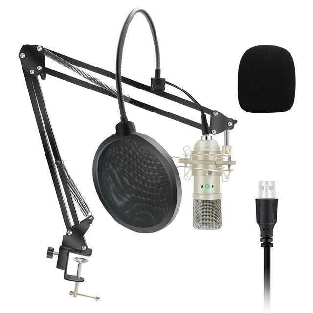 Kit de Microphone à condensateur USB Microphone karaoké micro de Studio pour ordinateur diffusion en direct enregistrement de chat en ligne