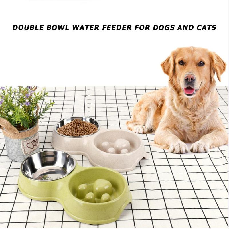 Stainless Steel Slow Food Double Bowls Wheat Straw Dog Feeders Pet Product  Straw + Stainless Steel  Dog Feeders 4 Types