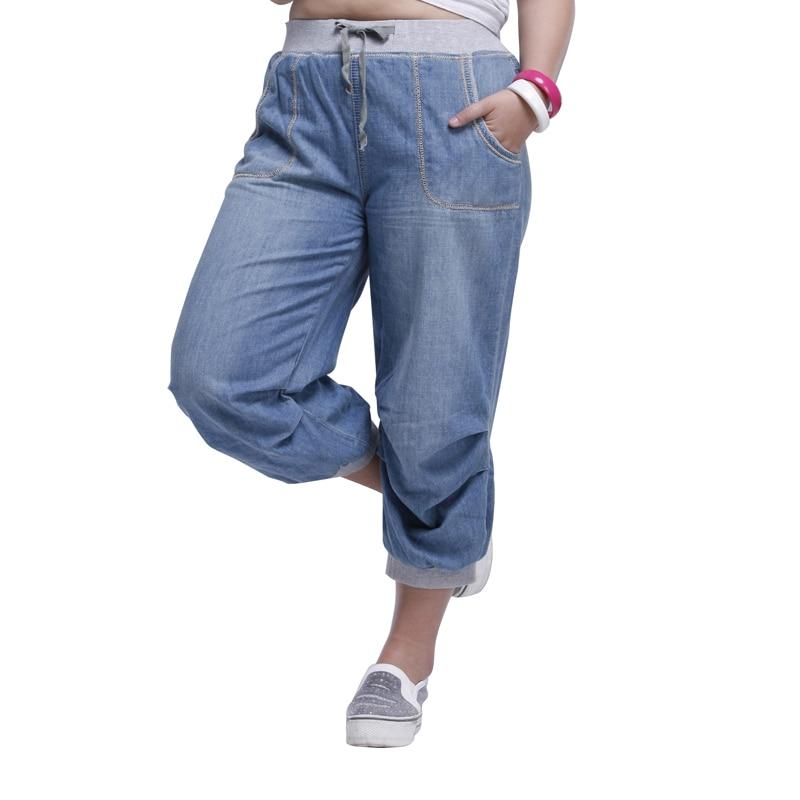 2020 summer women jeans harem pants plus size loose trousers for women denim pants Capris