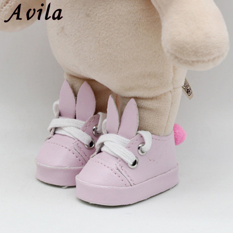Doll Shoes Cartoon Animal Rabbite Shoes For Dolls And Mini Toy Shoes For 1/6 BJD 14'' Handmade Doll Accessories