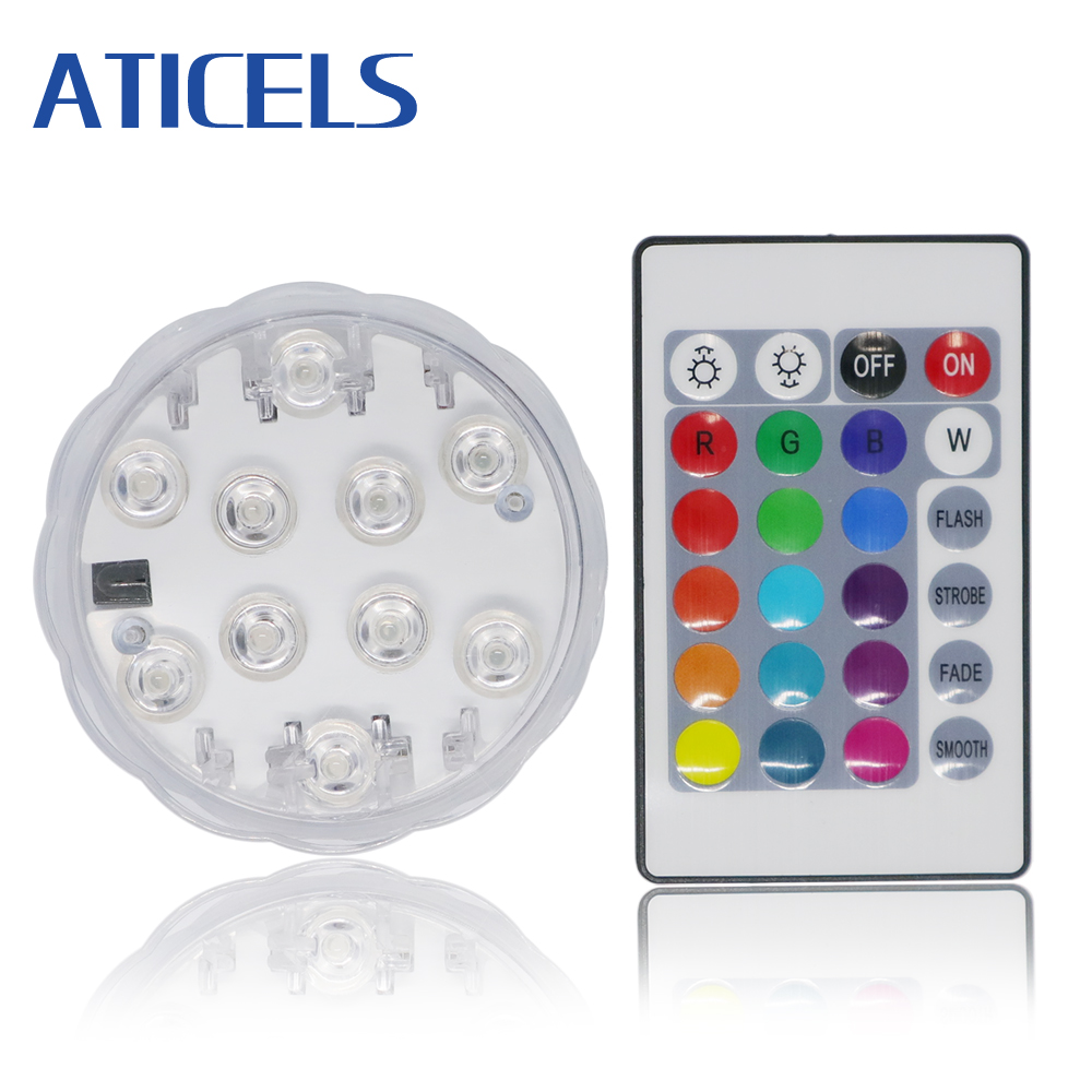 Battery Operated Submersible Light 10LED RGB Remote Control Underwater Night Light For Outdoor Vase Bowl Garden Party Decoration