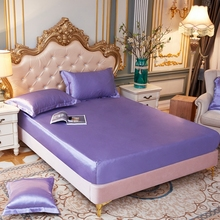 Luxury Satin Silk Fitted Sheet high end Solid Color Mattress Cover Elastic Band Bed Sheet