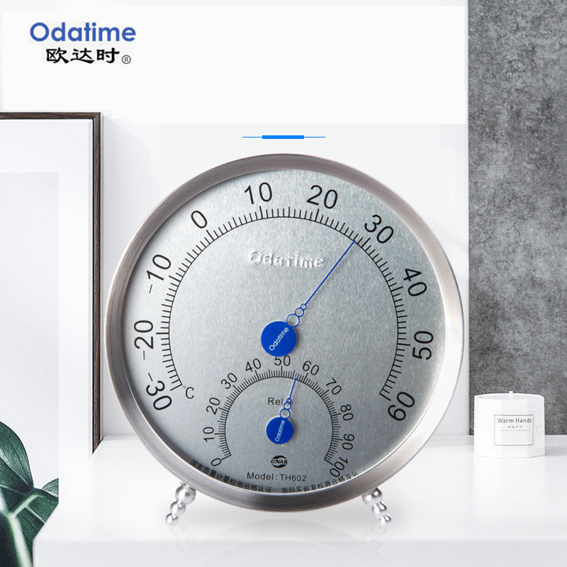 Odatime Wall Mounted Thermometer Hygrometer Stand-Up Metal Round Temperature Humidity Meters For Bath And Sauna Room Indoor
