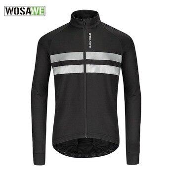 WOSAWE de los hombres de invierno de chaqueta de ciclismo térmica caliente de carretera de montaña bicicleta larga Jersey de Ciclismo de manga larga
