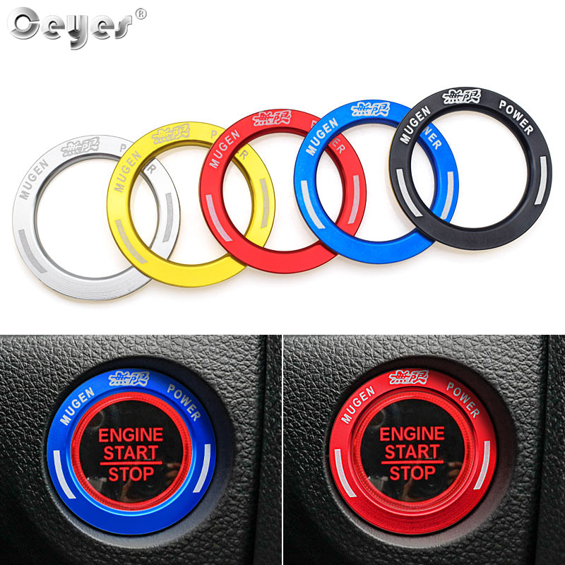 Ceyes Car Styling Car Sticker For Honda Mugen For Civic 2017 2018 Auto Engine Ignition Start Stop Button Ring Circle Covers Case