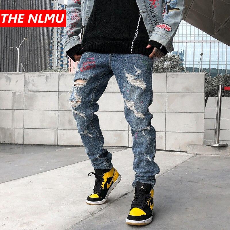 New Skinny Hole Jeans Men Streetwear Destroyed Ripped Jeans Homme Hip Hop Broken Graffiti Print Pencil Biker Denim Pants WG668