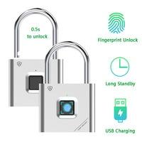 Keyless USB Rechargeable Door Lock Fingerprint Smart Padlock Quick Unlock Zinc alloy Metal Self Developing Chip|Electric Lock| |  -
