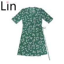 Lin vacances Split femmes vestidos France rose Tournesol vert imprimé femmes robe Vintage Chic wrap robe d'été livraison directe