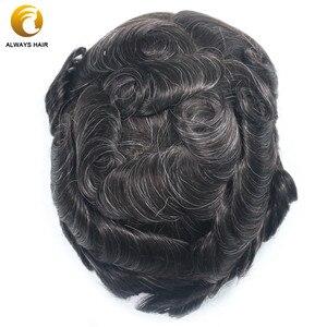 """Image 3 - Dayanıklı doğa saç çizgisi insan saçı peruk yoğunluğu 130% saç protezi dantel ön peruk erkekler 6 """"8x10 Mono merkezi erkekler saç parçası"""