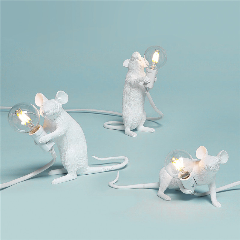 Home Decor Desk Light Nordic Resin Animal Rat Mouse Table Lamp Small Mini Mouse Cute LED Night Lights Fixtures Bedside Luminaire