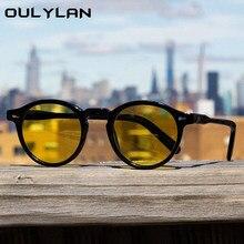 Oulylan vintage redondo óculos de sol feminino masculino retro verde óculos de sol tons para feminino marca designer all-match eyewear uv400