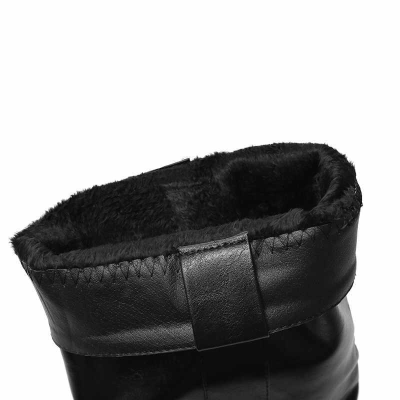 MORAZORA 2020 neue ankunft mitte wade stiefel frauen runde kappe niedrigen heels mode winter schuhe damen Motorrad Stiefel große größe 43