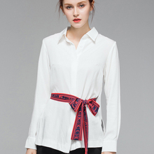 100% Cotton Materials Fashion Elegant Shirt Girl's Casual Tops With Sashes Nice