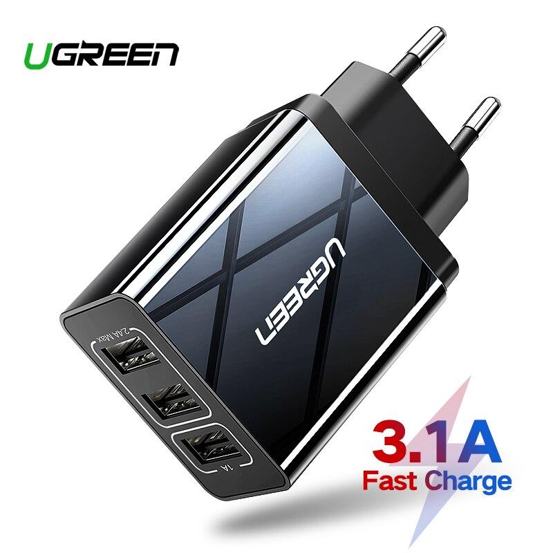 Cargador USB Ugreen para iPhone Xs X 8 7 cargador de teléfono rápido para Samsung Xiaomi Huawei cargador de pared adaptador de la UE cargador de teléfono móvil